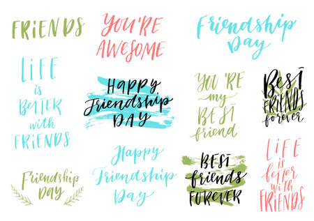 Illustration for Happy Friendship day vector lettering colorful design set. Inspirational quotes. Usable as greeting cards, posters and more. Best friends forever collection - Royalty Free Image
