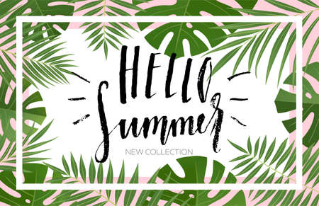 Illustration pour Summer sale banner design with tropical leaves. Hand drawn lettering and textures. Great for sale concept, label, tag, wallpaper, flyer, invitation, poster, brochure, voucher discount. Vector EPS 10. - image libre de droit