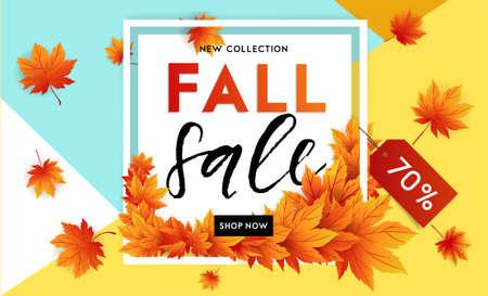 Ilustración de Autumn sale flyer template with lettering. Bright fall leaves. Poster, card, label, banner design. Bright geometrical background. Vector illustration - Imagen libre de derechos