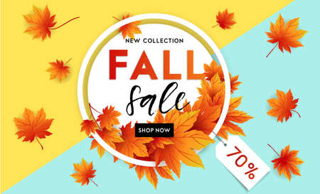 Ilustración de Autumn sale flyer template with lettering. Bright fall leaves. Poster, card, label, banner design. Bright geometrical background. Vector illustration - Imagen libre de derechos