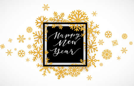 Ilustración de Elegant Merry Christmas lettering design with shining gold glittering snowflakes in white frame on white background. Vector illustration EPS 10 - Imagen libre de derechos