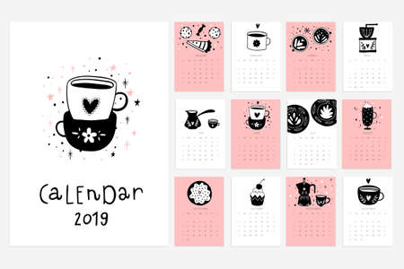 Illustration pour Calendar 2019. Stock vector. Fun and cute calendar with hand drawn cups, desserts and etc. Pink blue grey white - image libre de droit