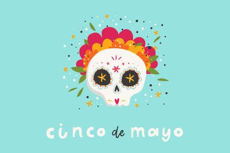 Ilustración de Beautiful bright vector illustrations with design for Mexican holiday 5 may Cinco De Mayo. The postcard with traditional Mexican sugar skulls and lettering. - Imagen libre de derechos