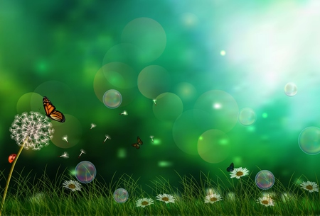 Illustration for Sunny background with three butterflies - Royalty Free Image