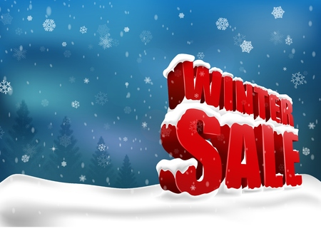 Illustration pour Winter sale on christmas snow - image libre de droit