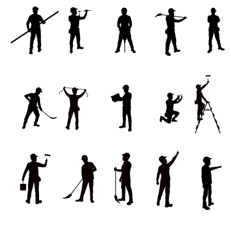Illustration pour Silhouette workers and tools isolated background - image libre de droit