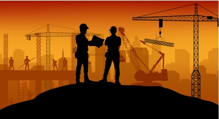 Photo pour Construction worker at work with worker standing - image libre de droit