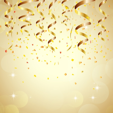 Ilustración de Happy new year background with golden confetti - Imagen libre de derechos