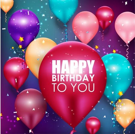 Illustration pour Colorful balloons Happy Birthday background - image libre de droit