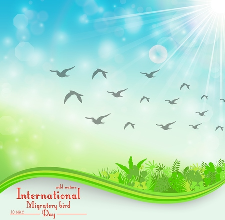 Illustration pour Vector illustration of Birds migratory day background with foliage and space for text - image libre de droit