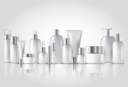 Illustration for Cosmetic bottle mock up set isolated packages on white background - Royalty Free Image