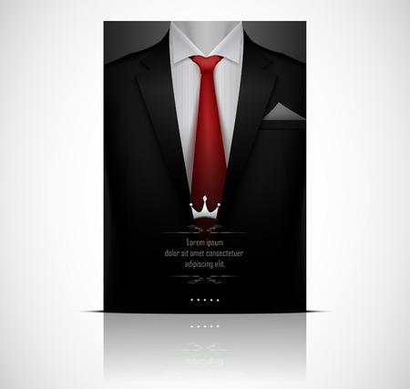 Illustration for Black suit and tuxedo with red tie - Royalty Free Image