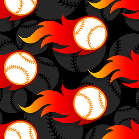 Ilustración de Seamless pattern with baseball ball icons and flames. Vector illustration. Ideal for wallpaper, wrapping, packaging, fabric design and any kind of decoration. - Imagen libre de derechos