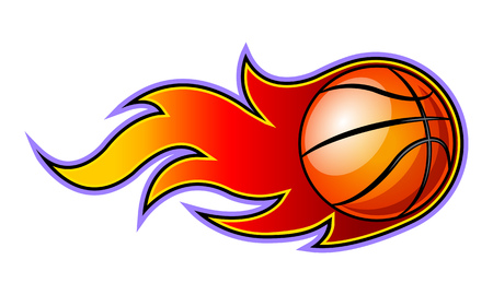 Ilustración de Vector blazing basketball ball with classic flames. Ideal for stickers, decals, sport logo design and any kind of decoration. - Imagen libre de derechos