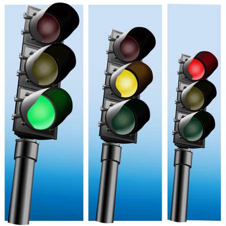 Illustration pour Semaphore Realistic  Traffic lights - image libre de droit