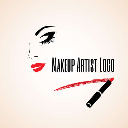 Illustration pour Abstract woman face with closed eye. Trace of lipstick.  - image libre de droit