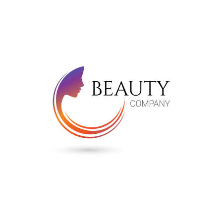 Illustration pour Logo for beauty salon, company with female face and hair - image libre de droit