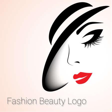 Illustration pour Fashion and Beauty Logo. Big variant. Womans face with Hat - image libre de droit