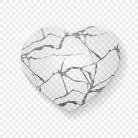 Illustration pour Illustration of broken heart made from glass on transparent background. Vector - image libre de droit