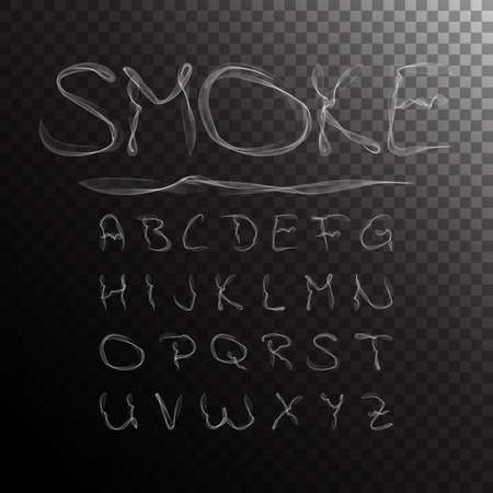 Ilustración de Smoke Alphabet, font, abc on transparent background. Vector illustration - Imagen libre de derechos