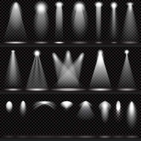 Illustration pour Scene illumination collection, transparent effects on a plaid dark  background. Bright lighting with spotlights. - image libre de droit