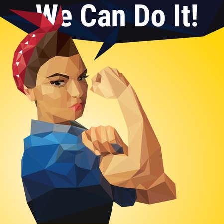 Ilustración de We Can Do It. Iconic woman's symbol of female power made with polygons. - Imagen libre de derechos