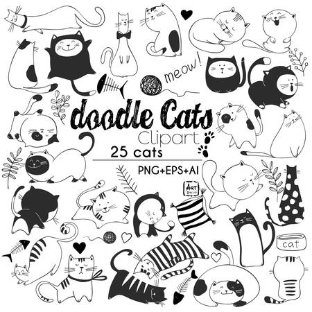 Illustrazione per Hand drawn vector illustrations of Cats characters. Sketch style. Doodle - Immagini Royalty Free