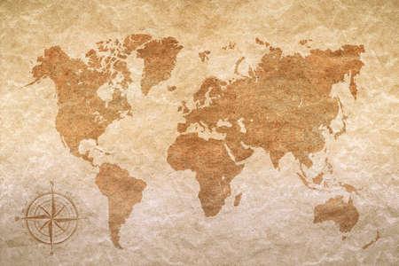 Photo pour vintage paper  with world map - image libre de droit