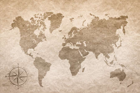 Photo for vintage paper  with world map - Royalty Free Image