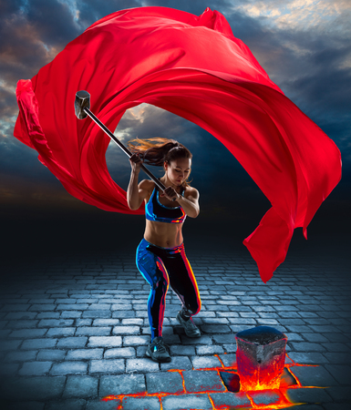 Photo for Girl with hammer in fantasy style - Royalty Free Image