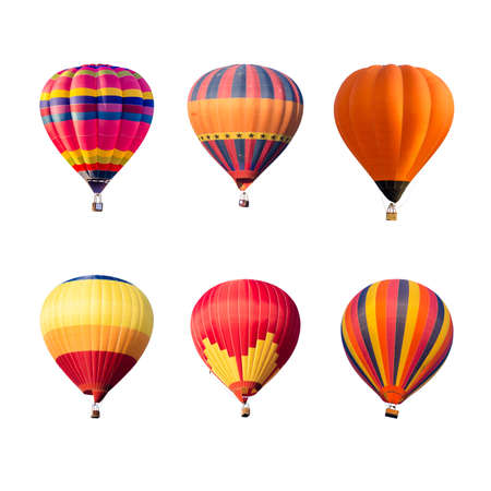 Photo for Colorful hot air balloons isolated on white background - Royalty Free Image