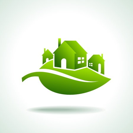 Illustration pour BIO GREEN HOUSES ICONS - image libre de droit