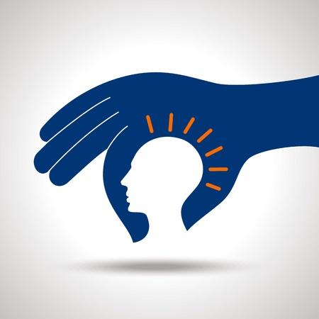 Illustration pour human head thinking a new idea - image libre de droit