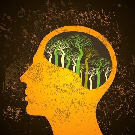 Illustration pour Brain tree illustration, tree of knowledge - image libre de droit