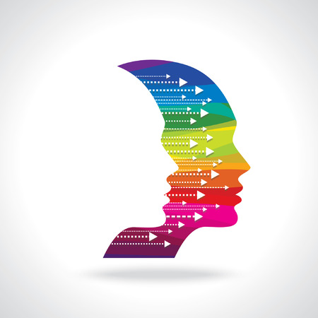 Illustrazione per Thoughts and options  vector illustration of head with arrows - Immagini Royalty Free