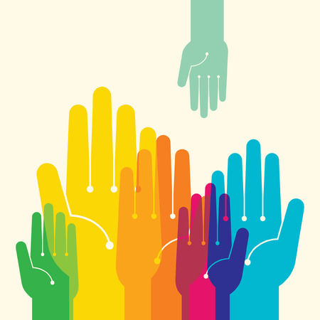 Illustration pour Team symbol  Multicolored hands - image libre de droit