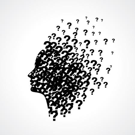 Illustration pour Thinking man silhouette with thought - image libre de droit