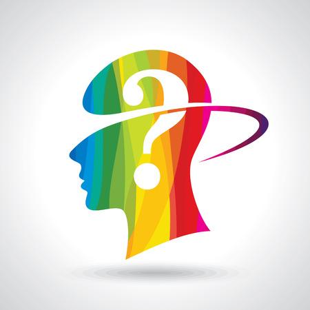 Illustration pour Man thinking many question. brain idea - image libre de droit