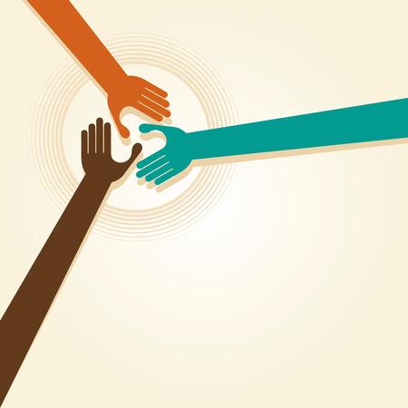 Illustration for Handshake, Teamwork Hands Logo. Vector illustration. - Royalty Free Image