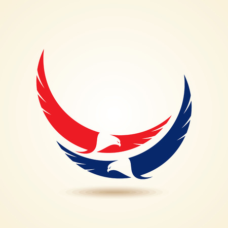 Illustration for Graceful soaring eagle logo with outstretched wings in two color variations - Royalty Free Image