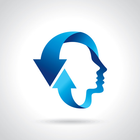 Illustration pour thinking head with blue arrow - image libre de droit