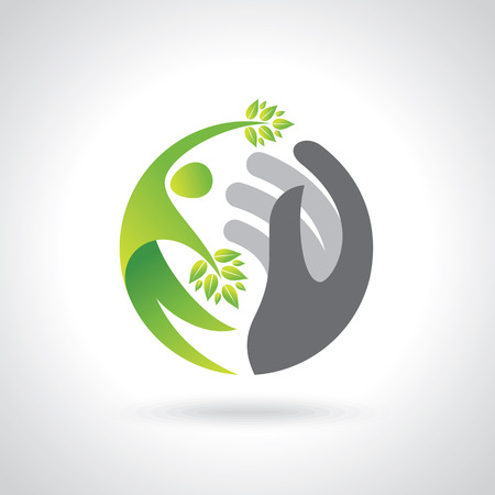 Illustration pour Human hands protecting green leaves, save earth concept. - image libre de droit