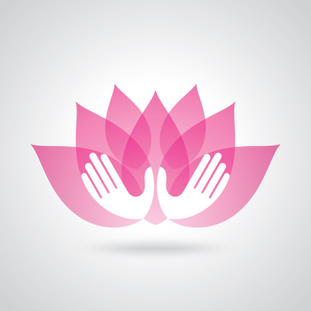 Illustration pour Hands holding a Lotus flower vector icon - image libre de droit