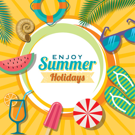 Illustration pour Summer holidays illustration  summer background - image libre de droit