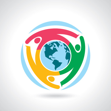Illustration pour Earth Globe with people teamwork concept - image libre de droit