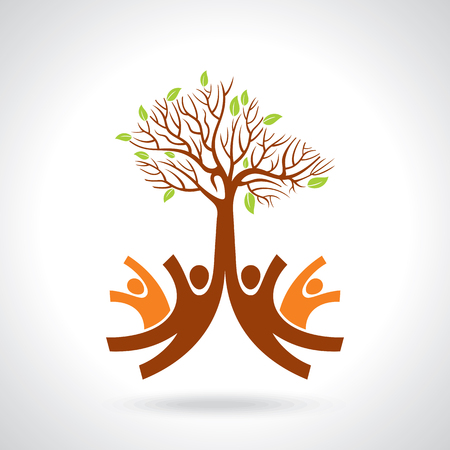 Illustration for creative group of hands with save tree - Royalty Free Image