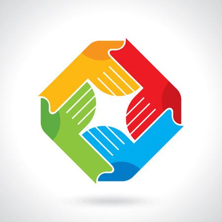 Ilustración de Teamwork symbol. Multicolored hands - Imagen libre de derechos