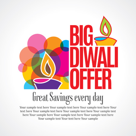 Illustration for sale shopping background and label for Diwali festival - Royalty Free Image