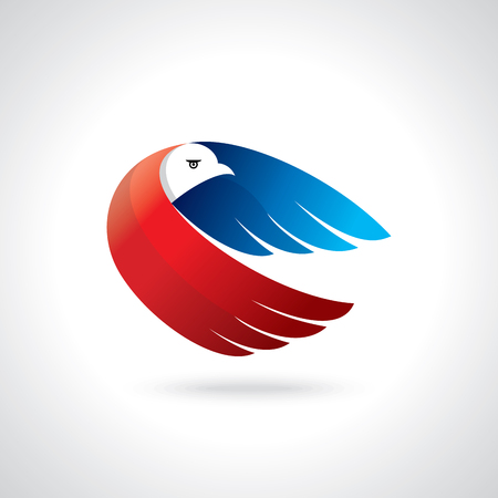 Ilustración de Abstract flying bird,delivery logo or concept design - Imagen libre de derechos