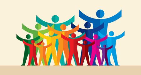 Ilustración de Teamwork People, Holding hands. Design for teamwork concept illustration - Imagen libre de derechos